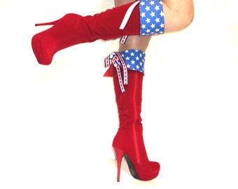 Wonder Woman Boot Cuff Toppers Super Hero Girl Halloween Costume