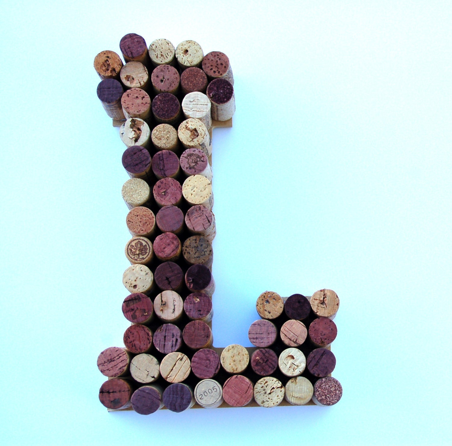 zoom Wine Cork Letter L made from