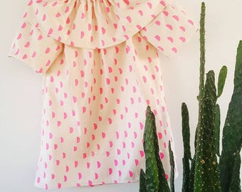 Happy Tunic Top - Baby, Toddler, Child, Girl, Fairy Tale, Tunic, Whimsical, Fall Dress, Fall, Boho, Modern, Shirt, Neon, Pink
