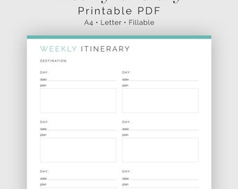 Travel Weekly Planner - Fillable - Travel Planner, Vacation Planner - Printable Organizational PDF - 3 colours - Instant Download