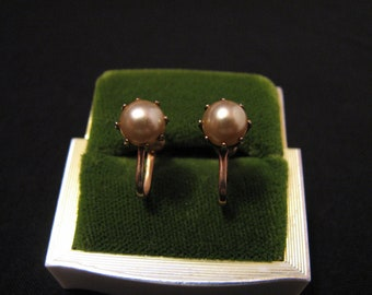 Antique Victorian Gold Tone and Cream Faux Pearl Stud Screwback Earrings