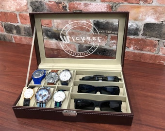 Watch Box - Personalized Watch Box - Watch Box for Men - Groomsman Gift - Best Man Gift - Watch Case - Gifts for Dad - Brown Watch Box