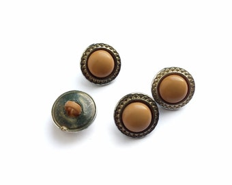 4 Mustard & Gold Plastic Buttons, 15mm