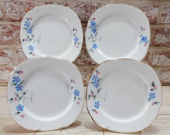 Vintage 4 Side plates hand painted bone china Bowl Floral blue flowers