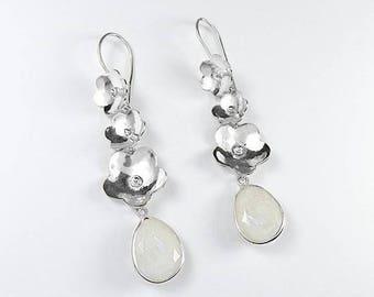 Flower 925 Sterling Silver Moonstone Gemstone Earrings