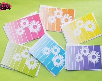 Gerbera Daisy Easter Flowers Cards (set of 6), Spring Flower Daisy Note Cards & Floral Stationery, Daisy Flower Greeting Cards