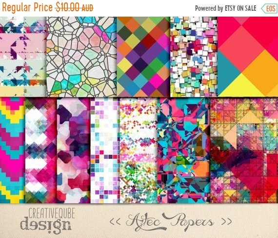 70% OFF Sale Digital Paper - Aztec Tribal, Triangular Backgrounds, Digital Scrapbook Paper, Geometric Clip Art, Graphics
