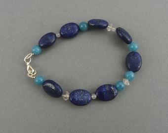 "Lapis Lazuli Bracelet with Blue- and Rosequartz - ""Little Lagoon"""
