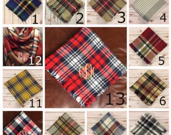 ON SALE today ONLY!!! - Adult & Kids, Womens and Girls Monogrammed Blanket Scarf, Large Plaid Scarf , Monogram Gifts, Mother Daughter gift