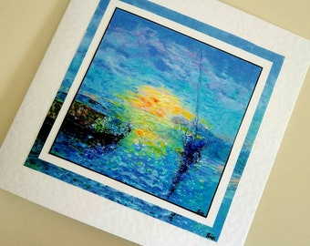 Blank card from original painting Sunset at Anchor by Bee Skelton for any occasion birthday gift anniversary thank you