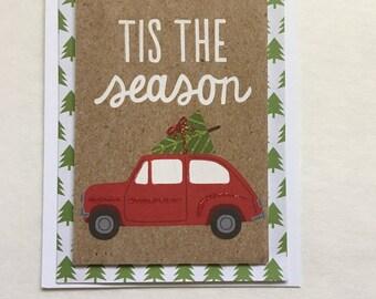 A set of two Handmade 'Tis The Season Christmas Card , Vintage Car with Christmas Tree