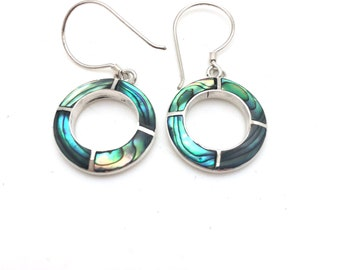 Sterling Silver Abalone Circle Earrings