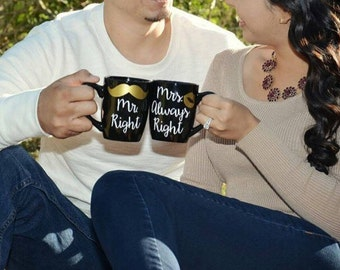 Mr. Right and Mrs. Always Right Mug Set (Black)