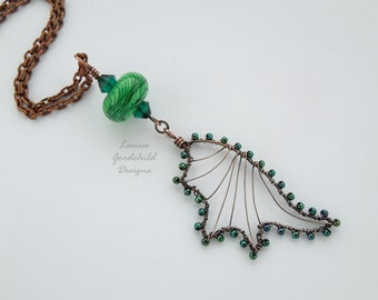Dragon wing, dragon pendant, copper necklace, dragon jewelry, green necklace, dragon necklace, gift for her, copper pendant, Mother's Day