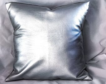 metallic silver faux leather pillow covers, faux leather cushion, decorative pillow for couch, silver throw pillow