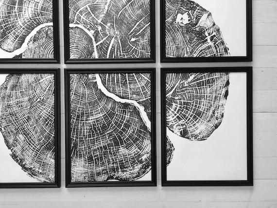 Tree Stump art, Set of 6, Tree lover art, Nature inspired, Tree ring art print, Interior art, art set of 6, black and white abstract, Linton