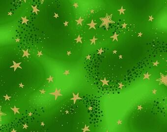 Laurel Burch Fabric Enchantment Green w/ Stars 1 Yard Y1965-22M