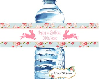 Bunny Birthday Rabbit Shabby Bunny birthday party 20 Water Bottle Labels- Waterproof-Baby Shower or Birthday Bridal Shower Tea Easter