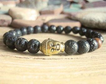 Mens Buddha Bracelet - Lava Stone Bracelet for Men, Matte Black with Gold Buddha Head and Red Lotus Seed Mala Bead, Protection Obstacles