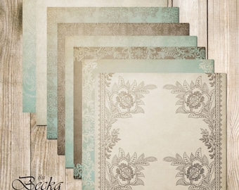 "Becka Digital Scrapbook Paper Pack (12x12""-300 dpi) - 8 Digital papers"