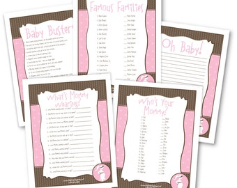 Girl Baby Shower Game Pack - 5 Instant Download & Print Games
