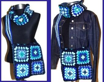 Crochet Bag Granny Square * BLUE * Retrobag, 70s,
