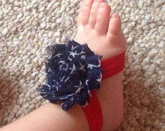 Stars baby barefoot sandals, 4th of July, patriotic, baby barefoot sandals, summer sandals