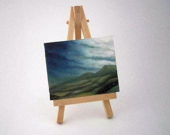 Miniature Oil Painting, landscape art, stormy weather, canvas, easel, original art