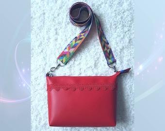 Red messenger bag, red bag, handbag, shoulder bag Melissa