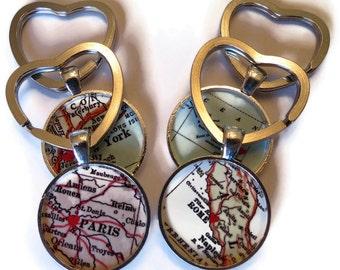 Custom keychain, graduation key chains, Personalized Keychains Charm, Custom Gift, Heart on Custom Location, Best Friend Gift, Mom Gift Idea
