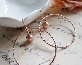 Rose Gold Hoop Earrings, Pearl Drop, Textured Hoops, Bohemian, Round, Gypsy, Gift for Mom, Redpeonycreations