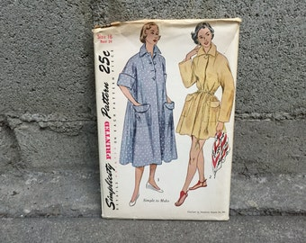 50's Simplicity 3592 Pattern Misses' Robe in Two Lengths - Size 16 Bust 34 Factory Folded