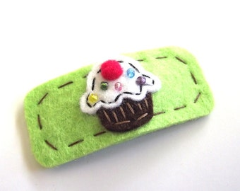 Cupcake Hair Clip - Hand Embroidered - FREE US SHIPPING