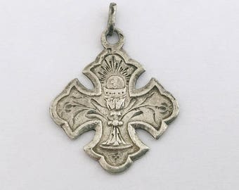 Vintage French Communion Medal Lucky Charm Pendant French Religious Medal Pendant