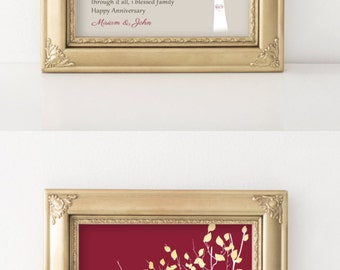 40 Year Anniversary Gift Art Print / Canvas Personalized Gift for Parents 40th Anniversary Grandparents Gift Ruby Marriage Art Keepsake Gift