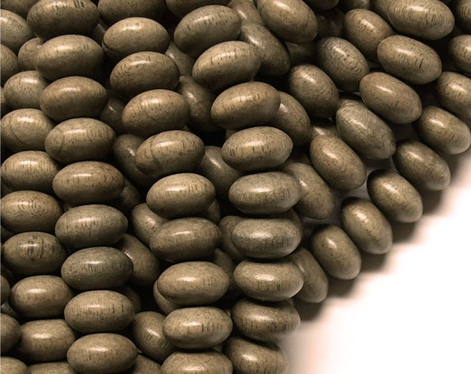 Wood Bead, Rondelle 6x10mm, Graywood - Five 16 Inch Strands (WDRN-10GR)