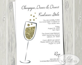 Champagne & Gold Glitter Invitation | Gala, Fundraiser, Black tie, Charity Event, Bridal Shower, Engagement Party, New Years, Minimal