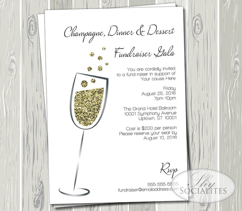 Champagne & Gold Glitter Invitation Gala Fundraiser Black