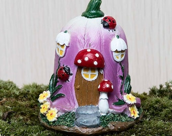 Miniatures Fairy Flower House, 2.75 inches tall.  Perfect in a terrarium or fairy garden.  Vibrant colors - fairy house - gift for her