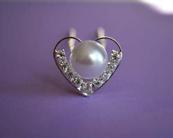 Wedding Bridal Hair Pins Pearl & Heart Shape with Crystal Rhinestones Set of 3 Elegant Hair Pins, Proms, Weddings,