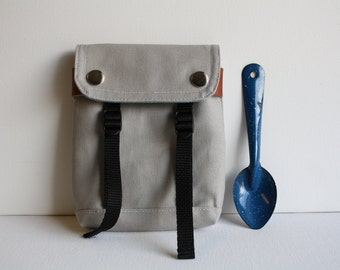 Belt Loop Snap Pouch  - smokey + pale blue