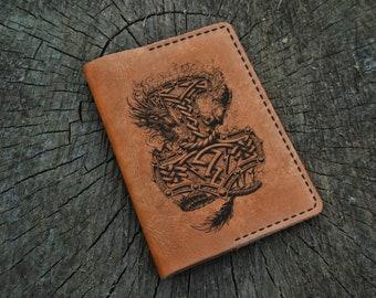 Leather Passport Cover, Vikings, Mjolnir, Leather Passport Holder, Leather Passport Wallet, Travel Wallet, Mjollnir, Thor, Ragnarok, Celtic