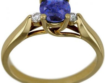 1920s Tanzanite Engagement Rings, Art Nouveau Jewelry, Statement Ring, Unique Jewelry, Art Deco Ring, Diamond Rings, Solid 14K Yellow Gold