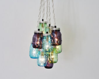 Waterfall splash mason jar chandelier handcrafted hanging mason jar chandelier cluster hanging chandelier fixture featuring blue green and purple ball jars modern bootsngus lighting home decor aloadofball Gallery