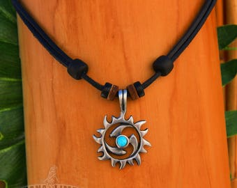 Surfer Leather Mens Womens Beach Metal Sun Pendant Turquoise Necklace HANA LIMA ®