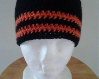 Orange stripe black hat