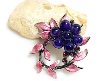 Enamel Flower Brooch, pink Enamel, purple Rhinestones, clearance Sale, Item No. B487