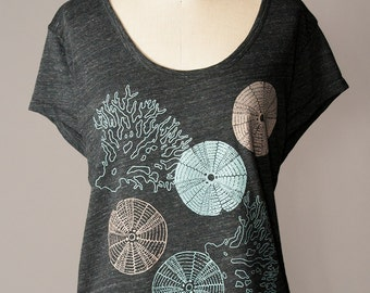 loose fit women's top, urchin and coral, summer tee, beach inspired