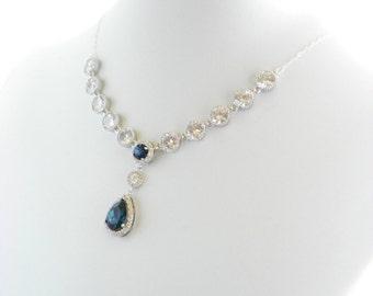 Bridal Statement Necklace, Navy Blue Wedding Necklace, Cubic Zirconia Necklace, Wedding Statement Necklace, Montana Blue Swarovski Necklace