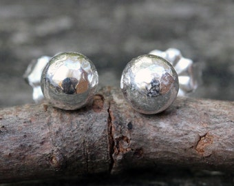 Sterling silver stud earrings / SMALL stud earrings / gift for her / silver earrings / boho jewelry / rustic earrings / jewelry sale